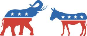Elephant républicain et âne démocrate